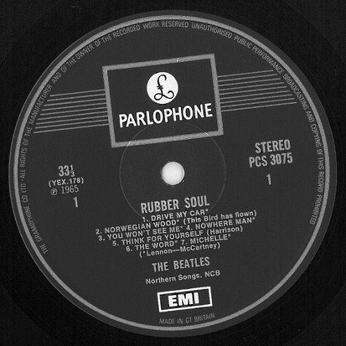 The Beatles Rubber Soul Vinyl Record Lp Parlophone 1969